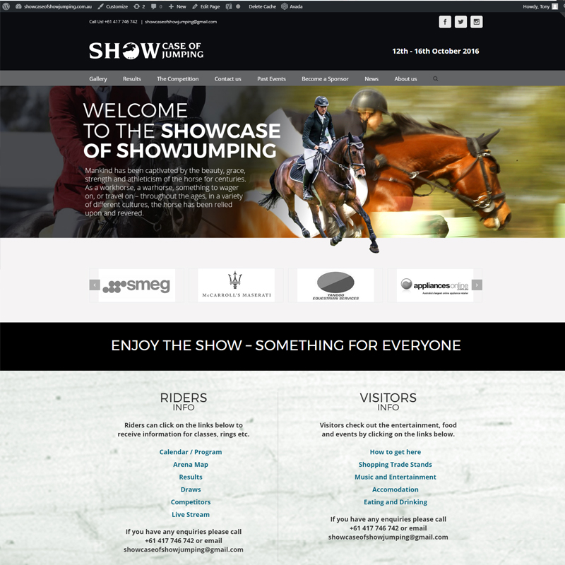 showcase of showjumping website