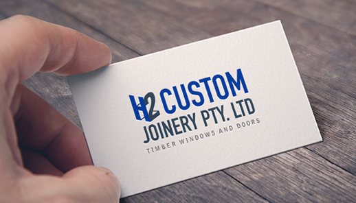 h2 custom joinery business card